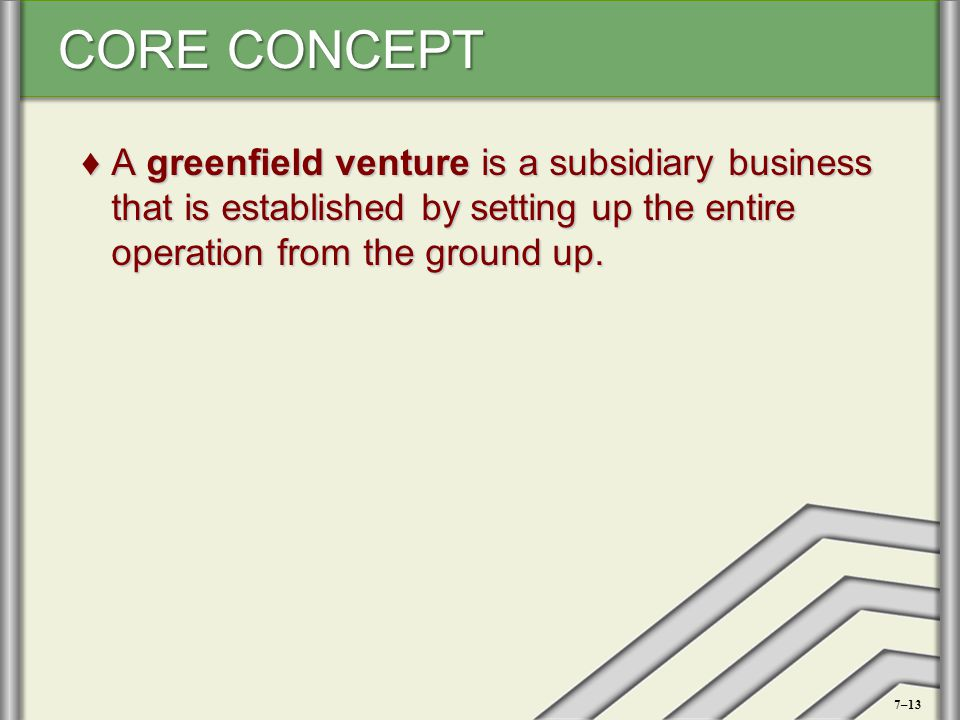 A greenfield venture is a subsidiary business that is established by setting up the entire operation from the ground up.