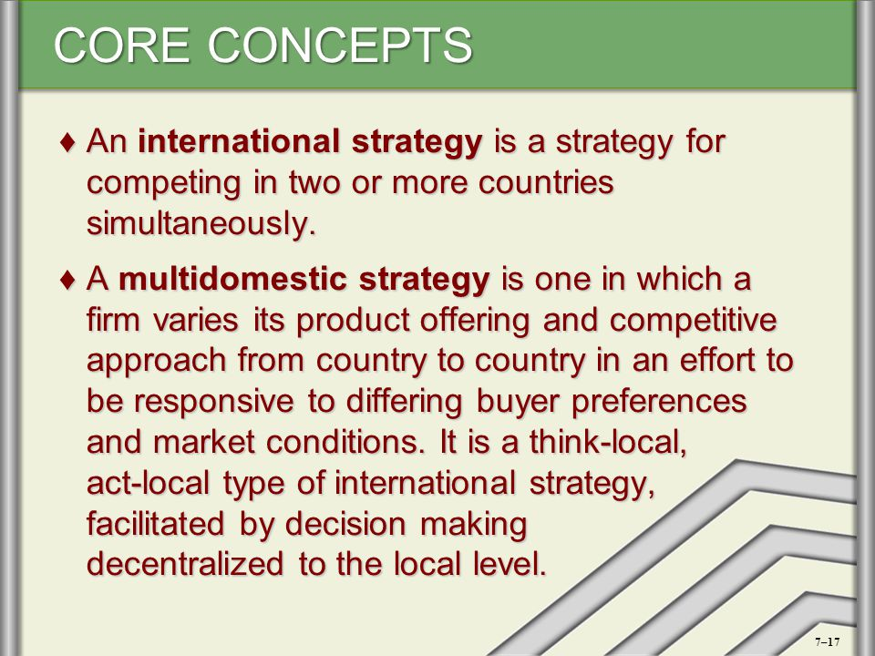 An international strategy is a strategy for competing in two or more countries simultaneously.