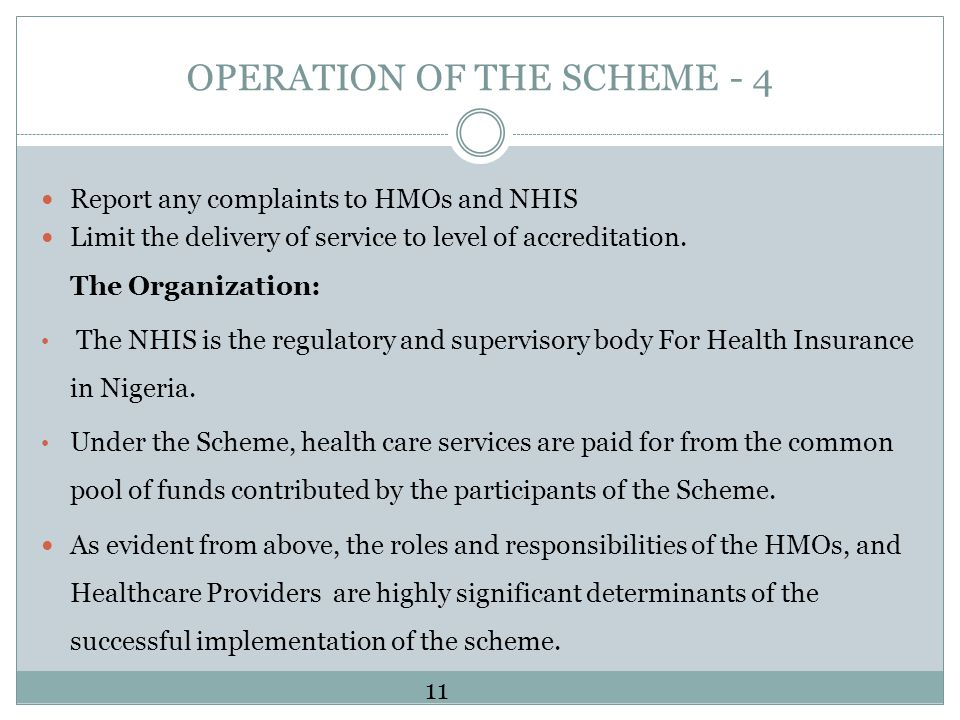 OPERATION OF THE SCHEME - 4