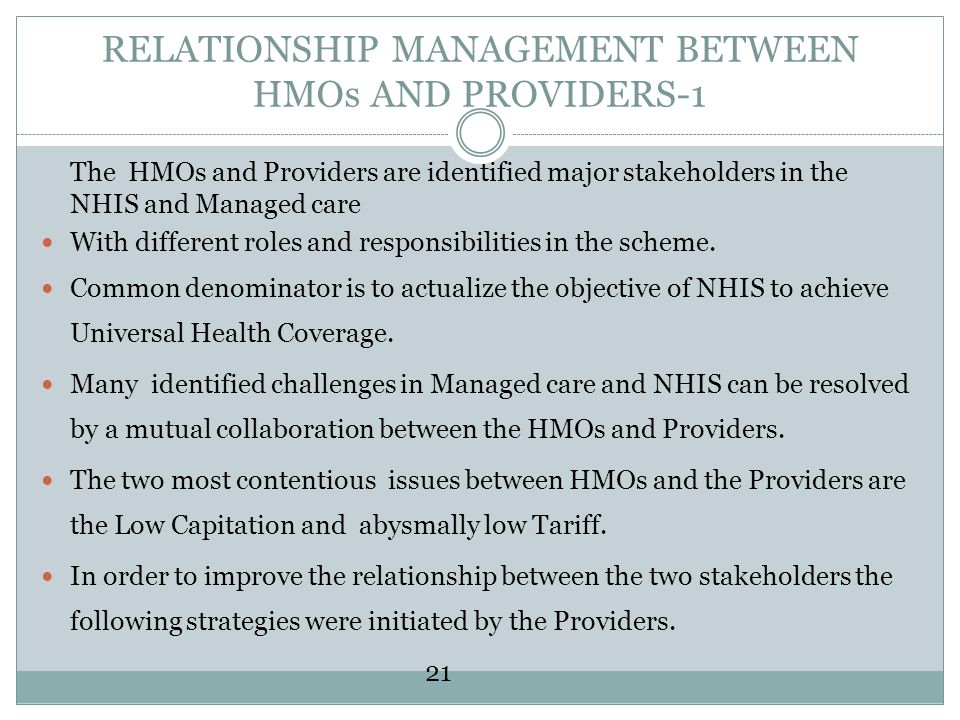RELATIONSHIP MANAGEMENT BETWEEN HMOs AND PROVIDERS-1