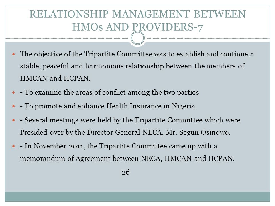 RELATIONSHIP MANAGEMENT BETWEEN HMOs AND PROVIDERS-7