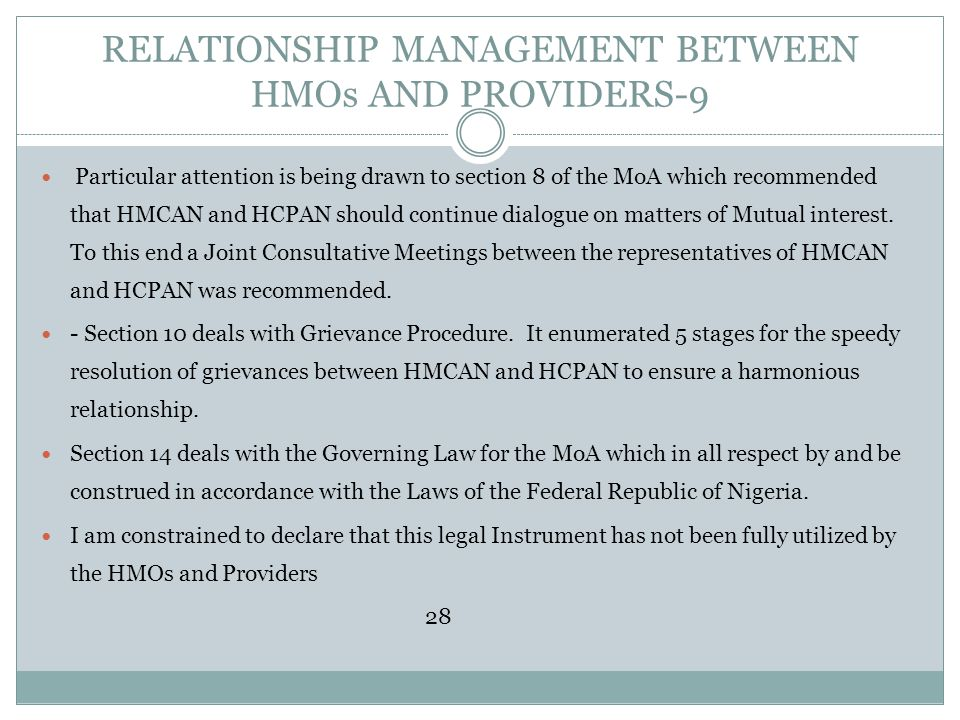 RELATIONSHIP MANAGEMENT BETWEEN HMOs AND PROVIDERS-9