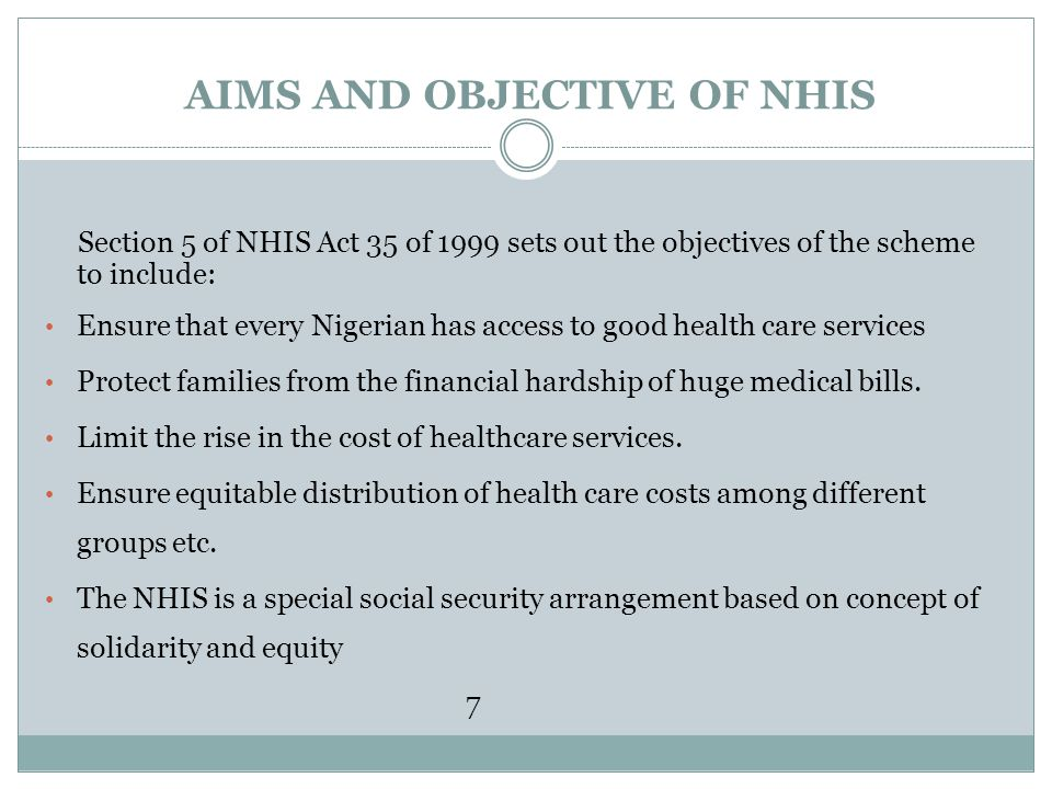 AIMS AND OBJECTIVE OF NHIS