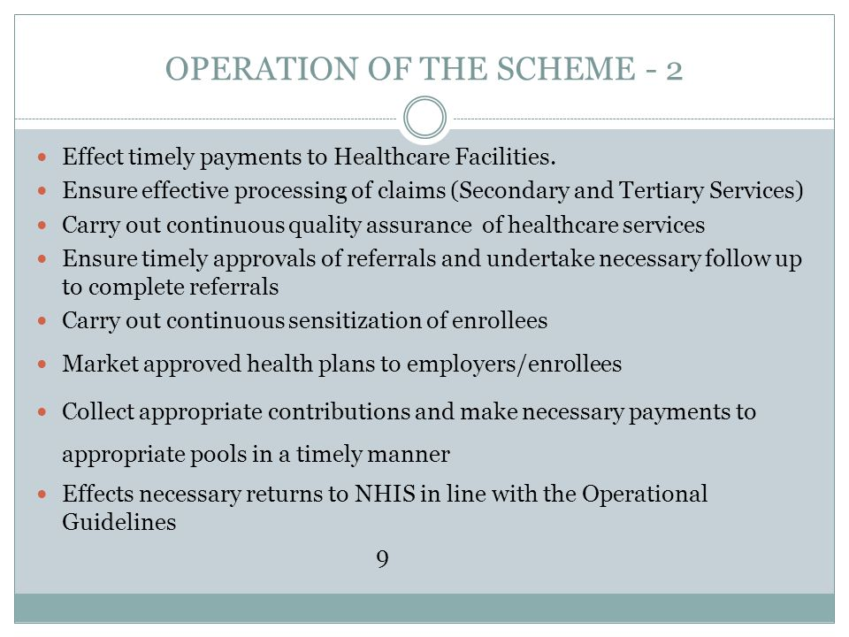 OPERATION OF THE SCHEME - 2