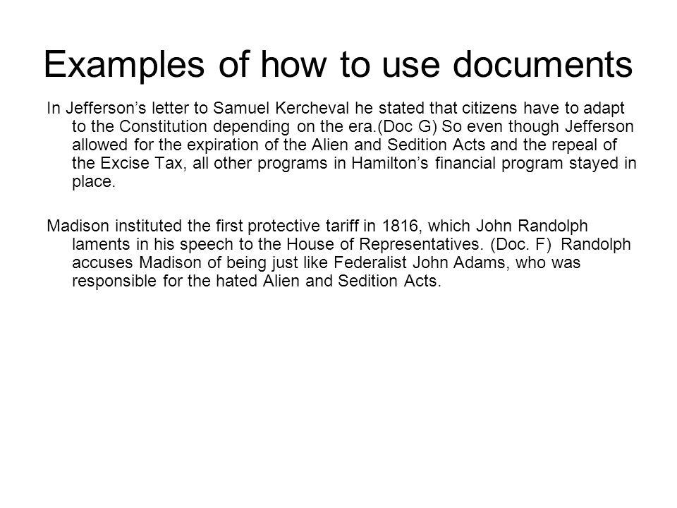 Examples of how to use documents