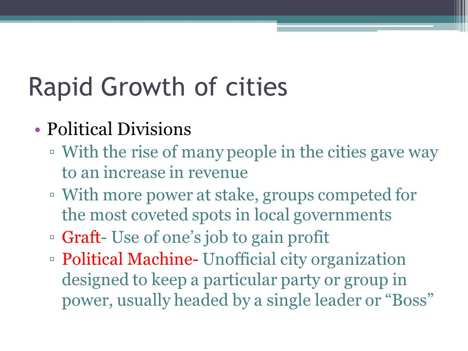 Rapid Growth of cities Political Divisions