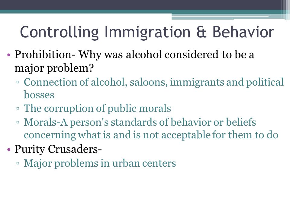 Controlling Immigration & Behavior