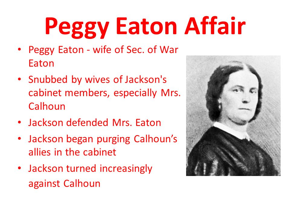 Peggy Eaton Affair Peggy Eaton - wife of Sec. of War Eaton