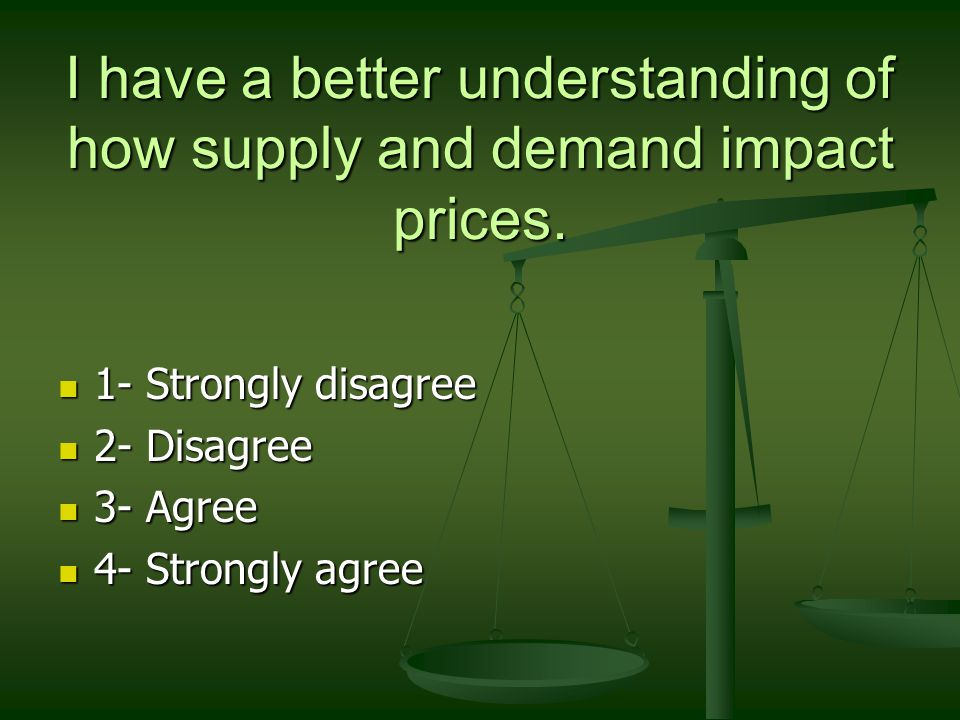 I have a better understanding of how supply and demand impact prices.
