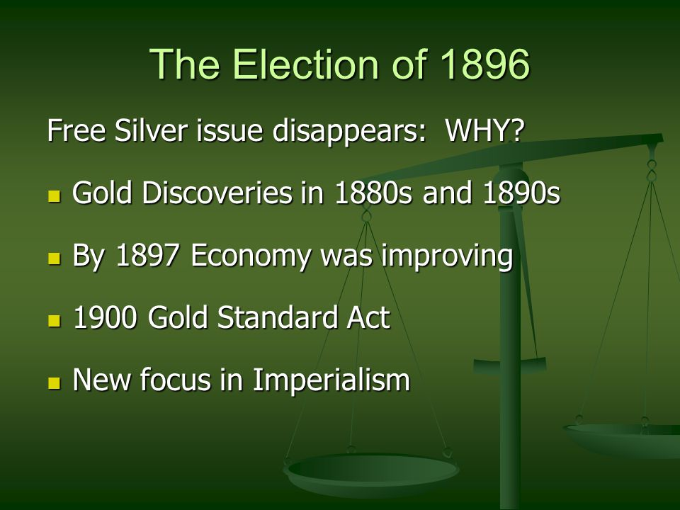 The Election of 1896 Free Silver issue disappears: WHY