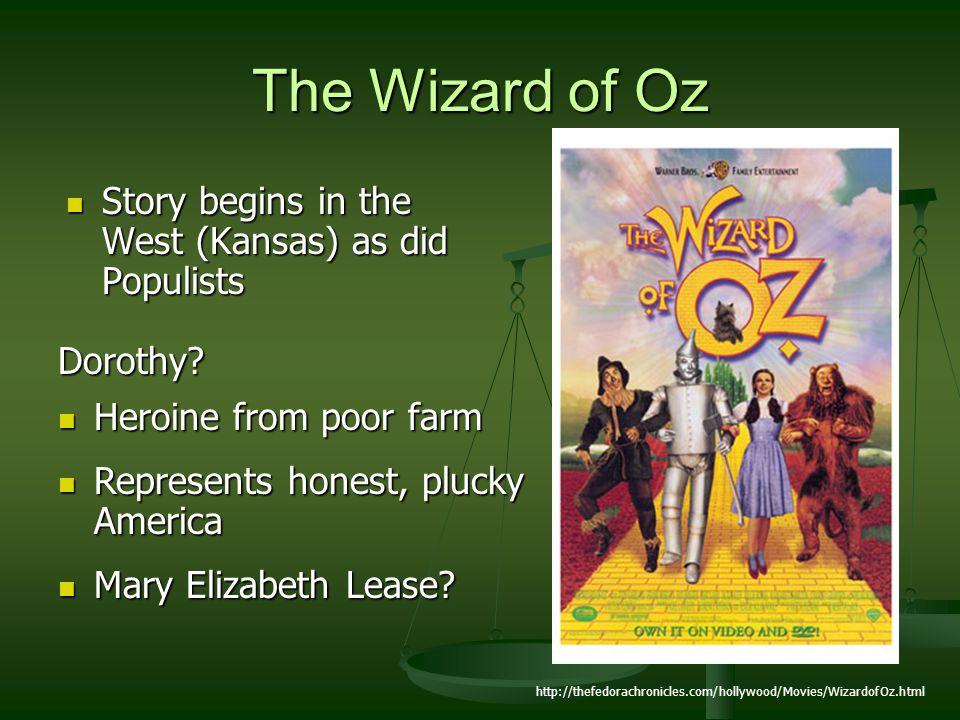 The Wizard of Oz Story begins in the West (Kansas) as did Populists
