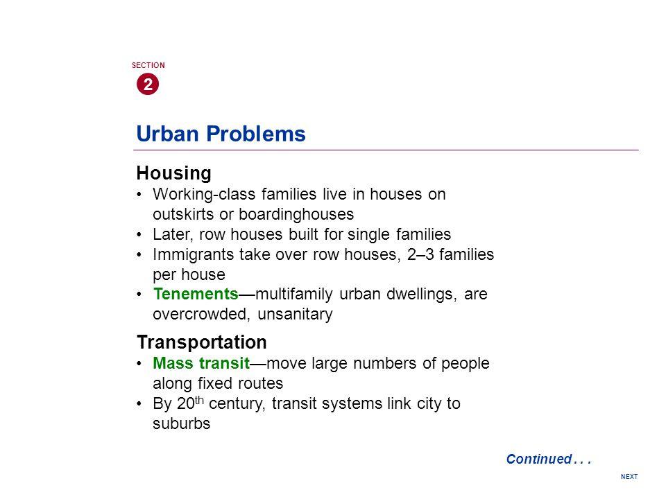 Urban Problems Housing Transportation 2