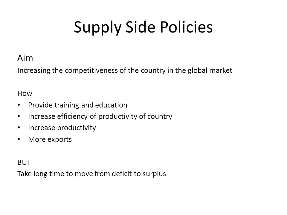 Supply Side Policies Aim