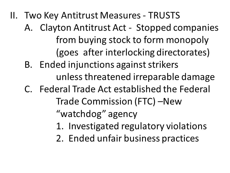 II. Two Key Antitrust Measures - TRUSTS