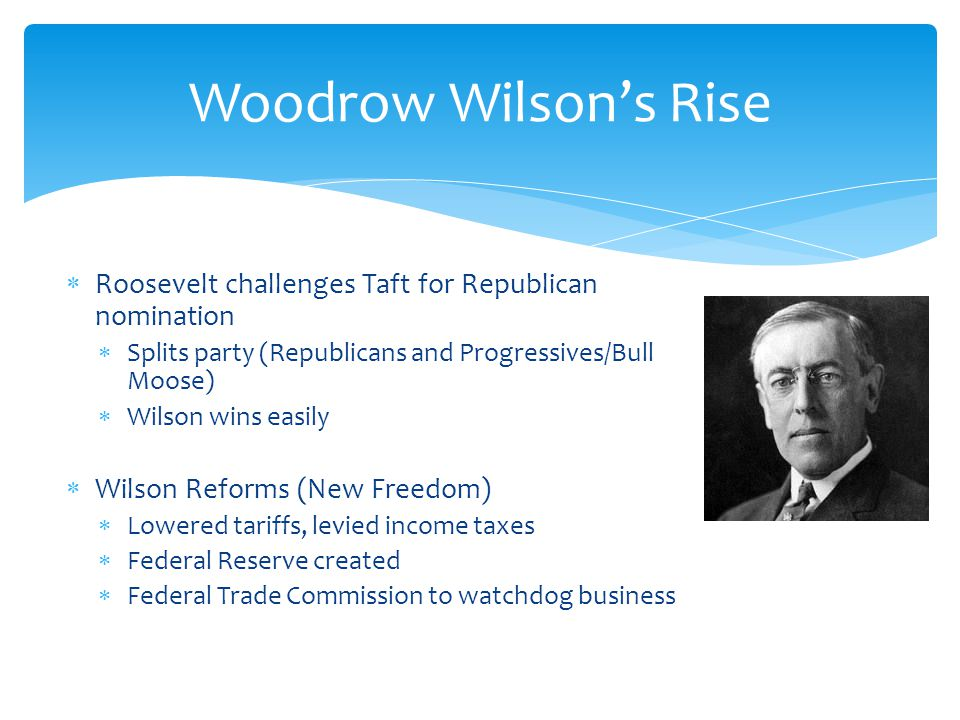 Woodrow Wilson's Rise Roosevelt challenges Taft for Republican nomination. Splits party (Republicans and Progressives/Bull Moose)