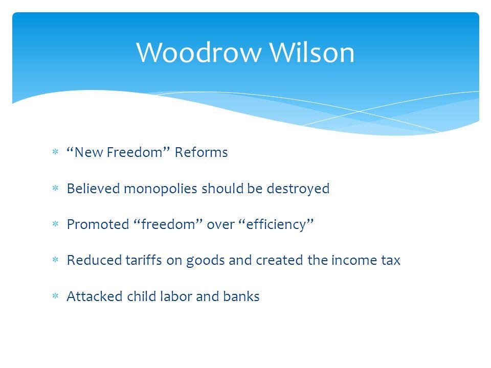 Woodrow Wilson New Freedom Reforms