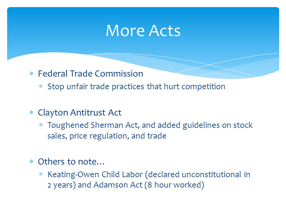 More Acts Federal Trade Commission Clayton Antitrust Act