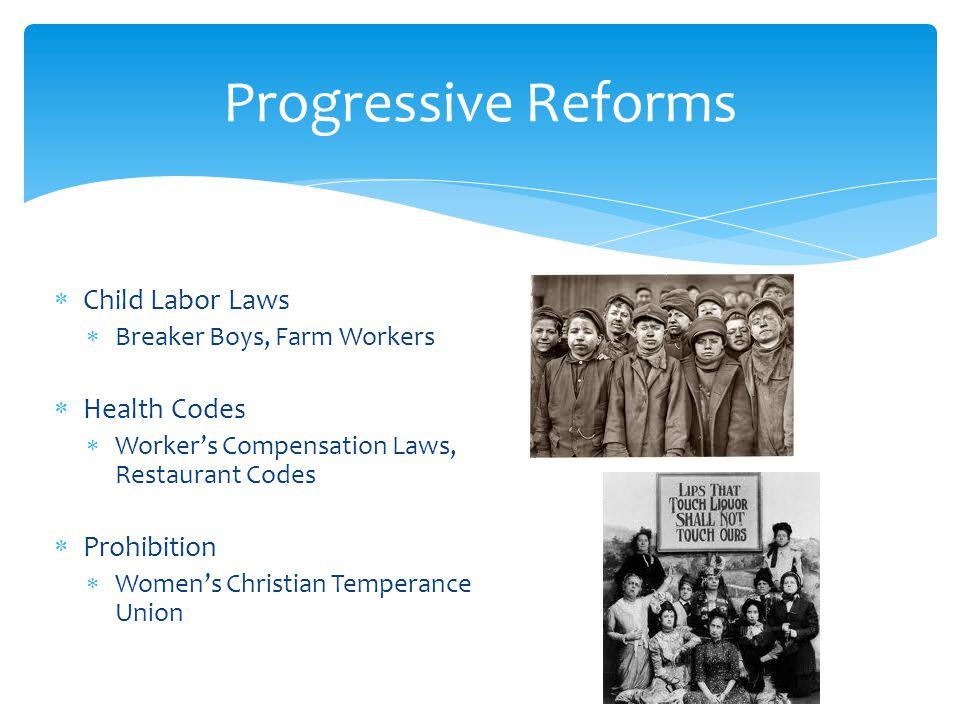 Progressive Reforms Child Labor Laws Health Codes Prohibition