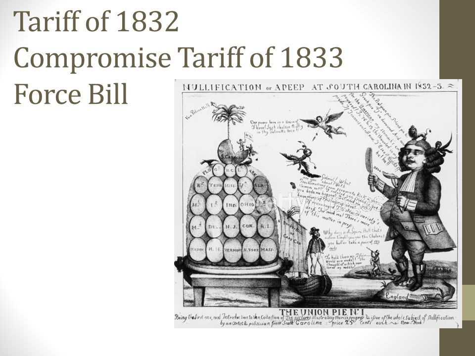 Tariff of 1832 Compromise Tariff of 1833 Force Bill