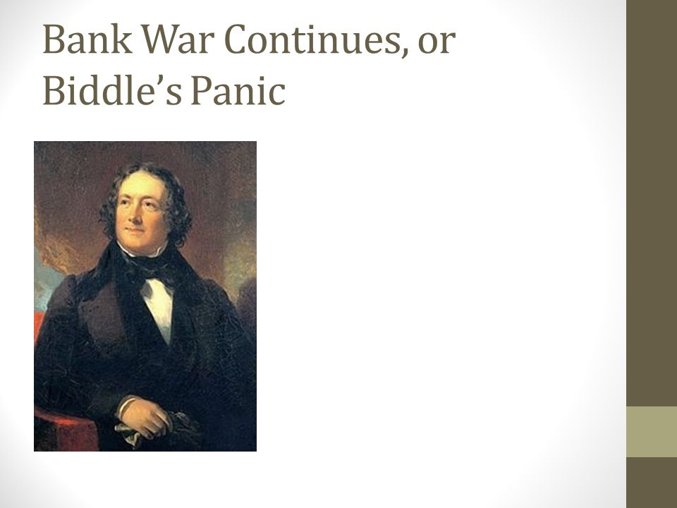 Bank War Continues, or Biddle's Panic