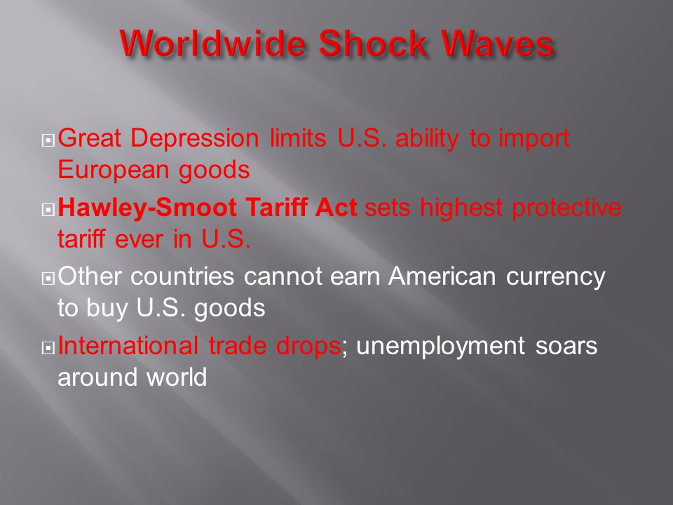 Worldwide Shock Waves Great Depression limits U.S. ability to import European goods.