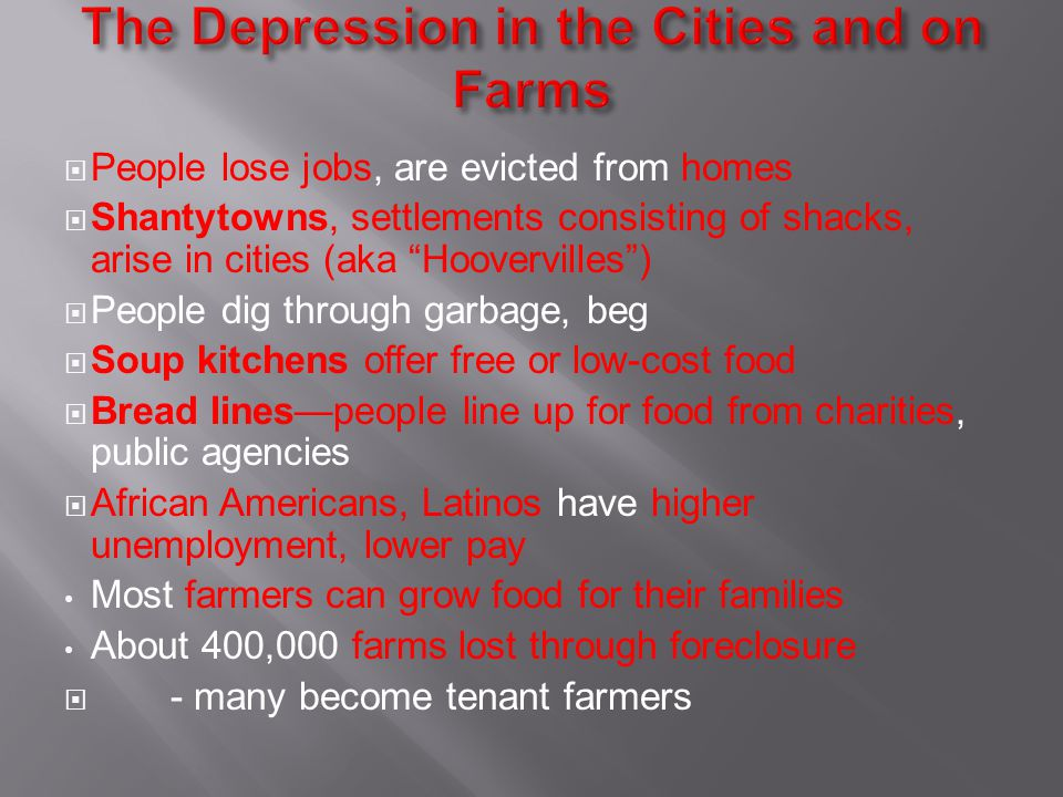 The Depression in the Cities and on Farms