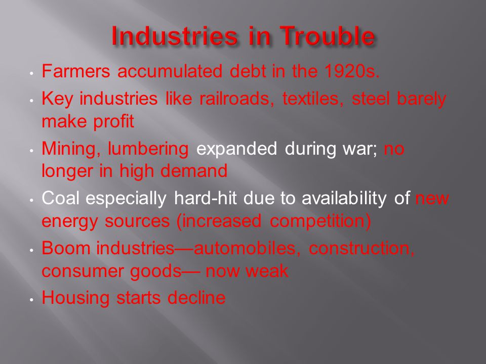 Industries in Trouble Farmers accumulated debt in the 1920s.