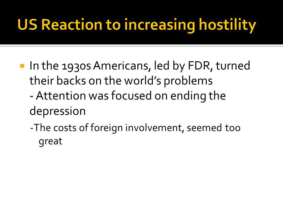 US Reaction to increasing hostility