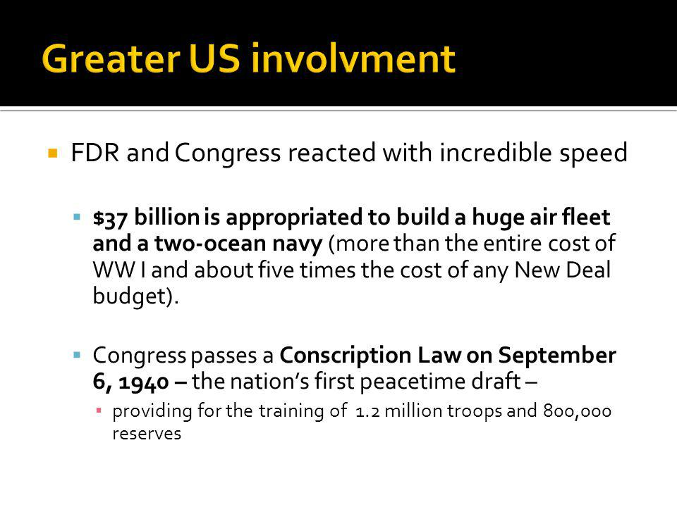 Greater US involvment FDR and Congress reacted with incredible speed