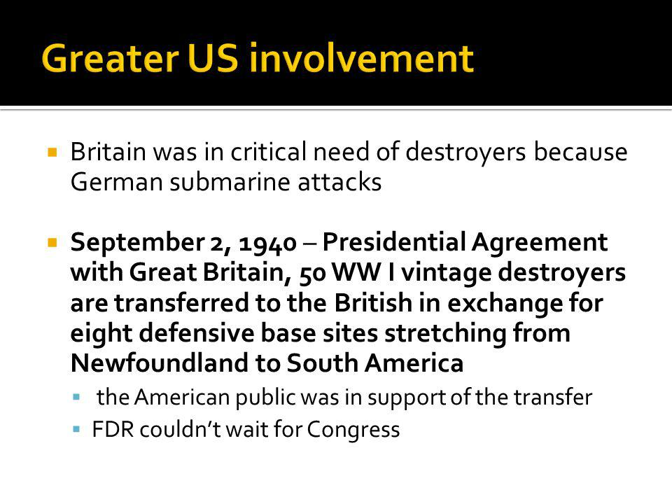 Greater US involvement