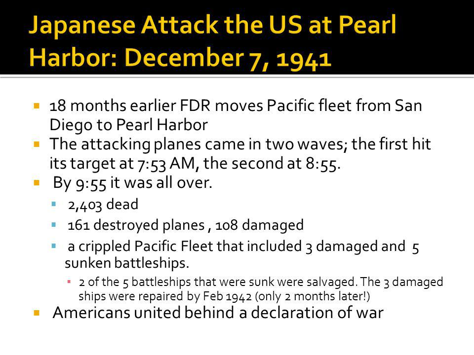 Japanese Attack the US at Pearl Harbor: December 7, 1941