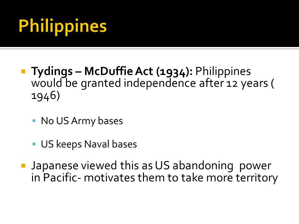 Philippines Tydings – McDuffie Act (1934): Philippines would be granted independence after 12 years ( 1946)