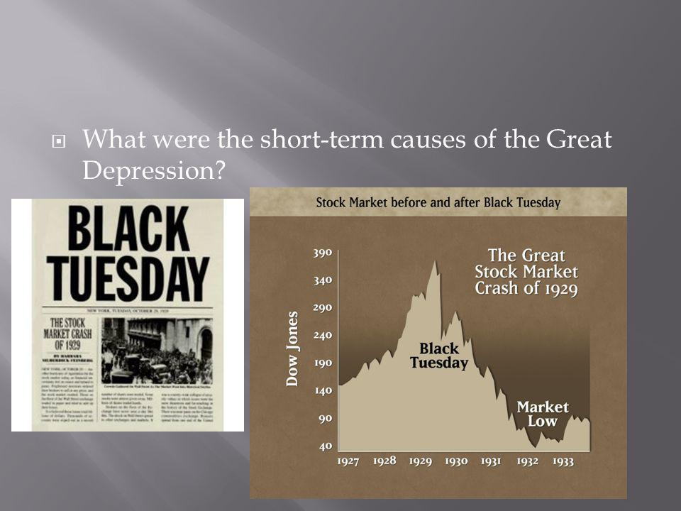 What were the short-term causes of the Great Depression