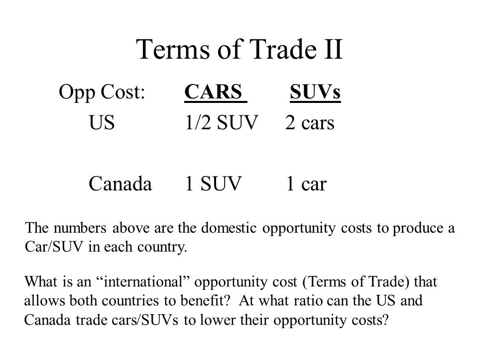 Terms of Trade II Opp Cost: CARS SUVs US 1/2 SUV 2 cars