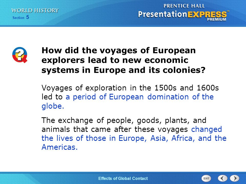 How did the voyages of European explorers lead to new economic systems in Europe and its colonies