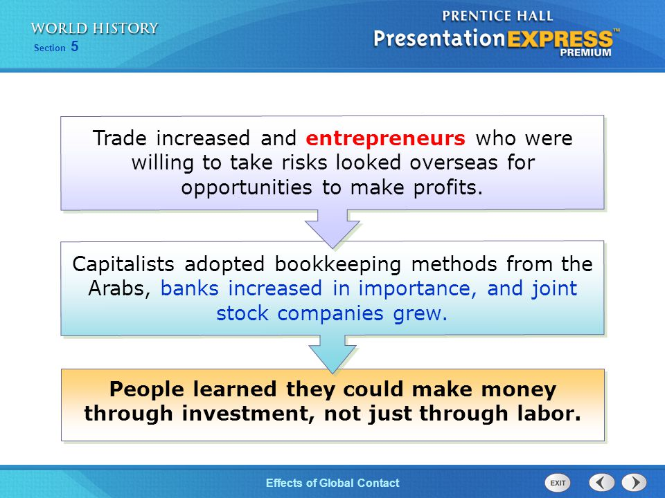 Trade increased and entrepreneurs who were willing to take risks looked overseas for opportunities to make profits.