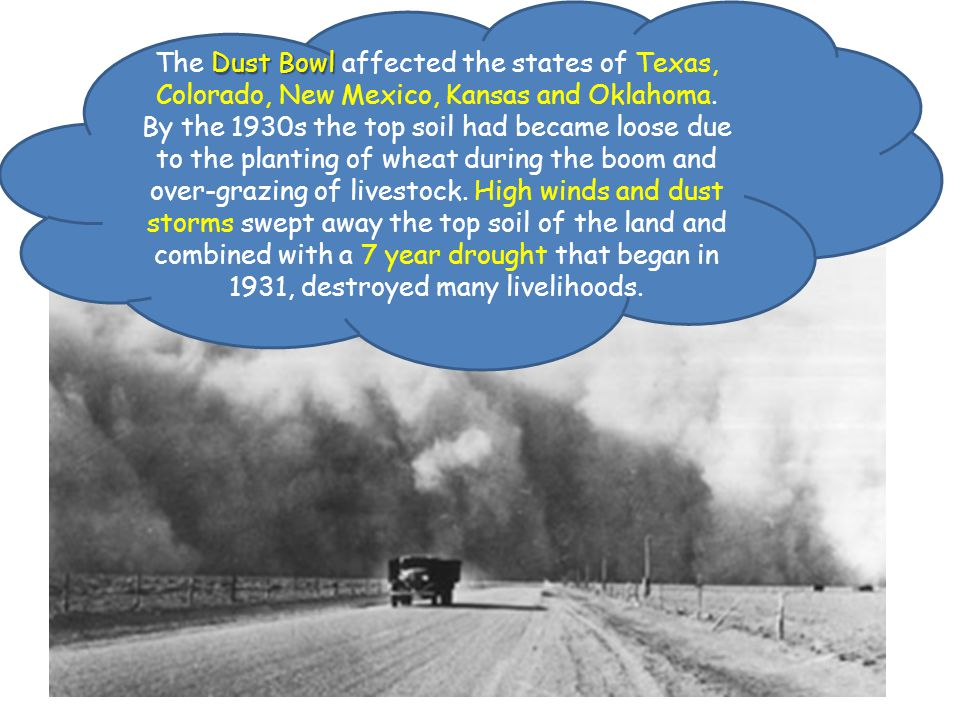 The Dust Bowl affected the states of Texas, Colorado, New Mexico, Kansas and Oklahoma.