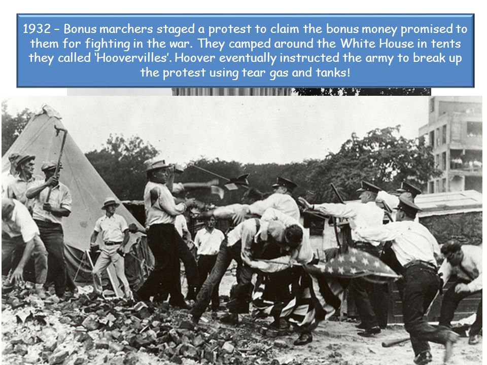 1932 – Bonus marchers staged a protest to claim the bonus money promised to them for fighting in the war.