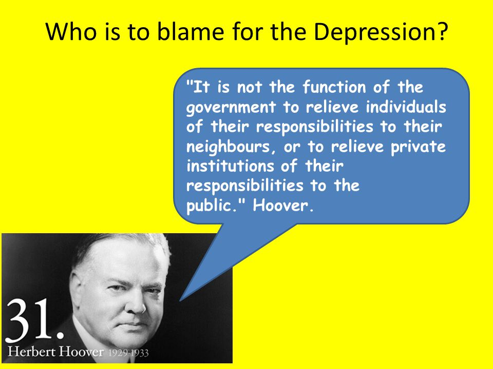 Who is to blame for the Depression