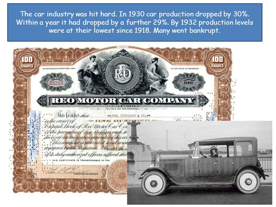 The car industry was hit hard. In 1930 car production dropped by 30%