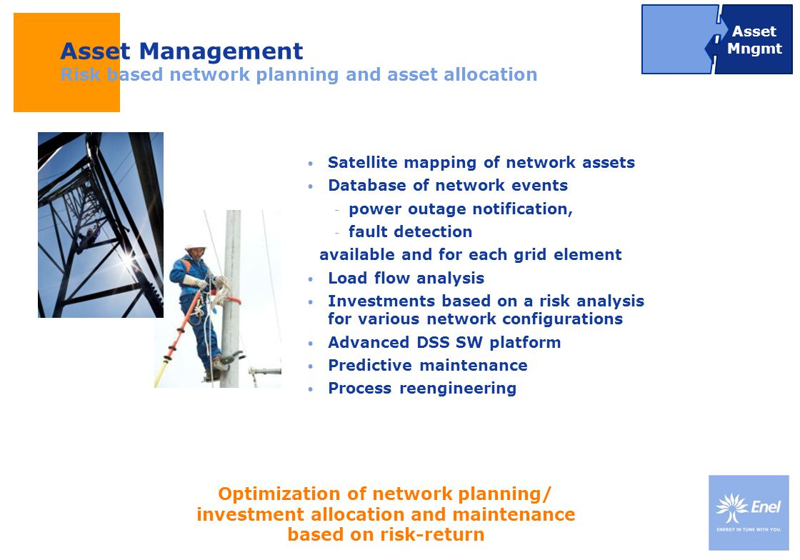 Asset Management Risk based network planning and asset allocation