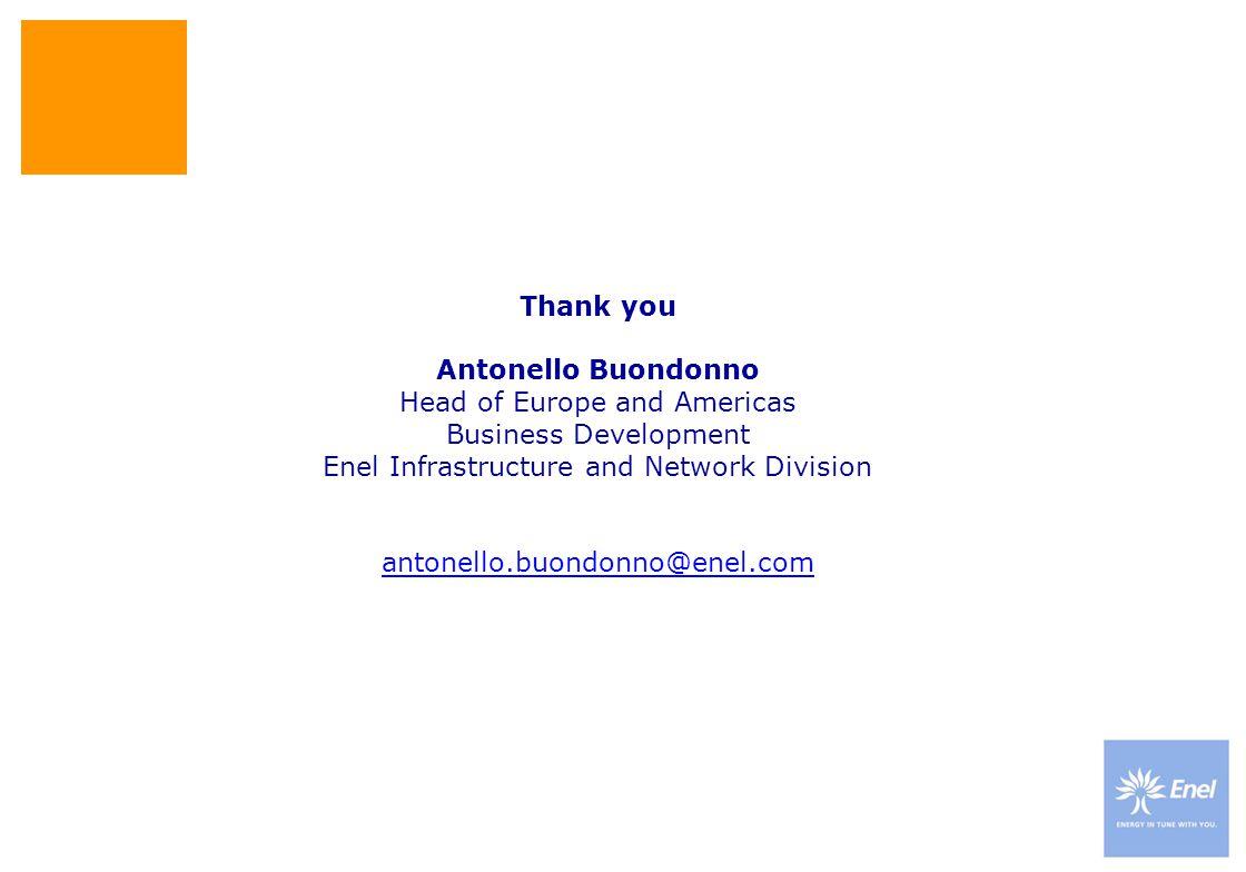 Thank you Antonello Buondonno Head of Europe and Americas Business Development Enel Infrastructure and Network Division antonello.buondonno@enel.com