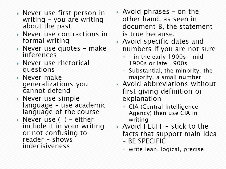 Avoid you in formal writing abbreviations