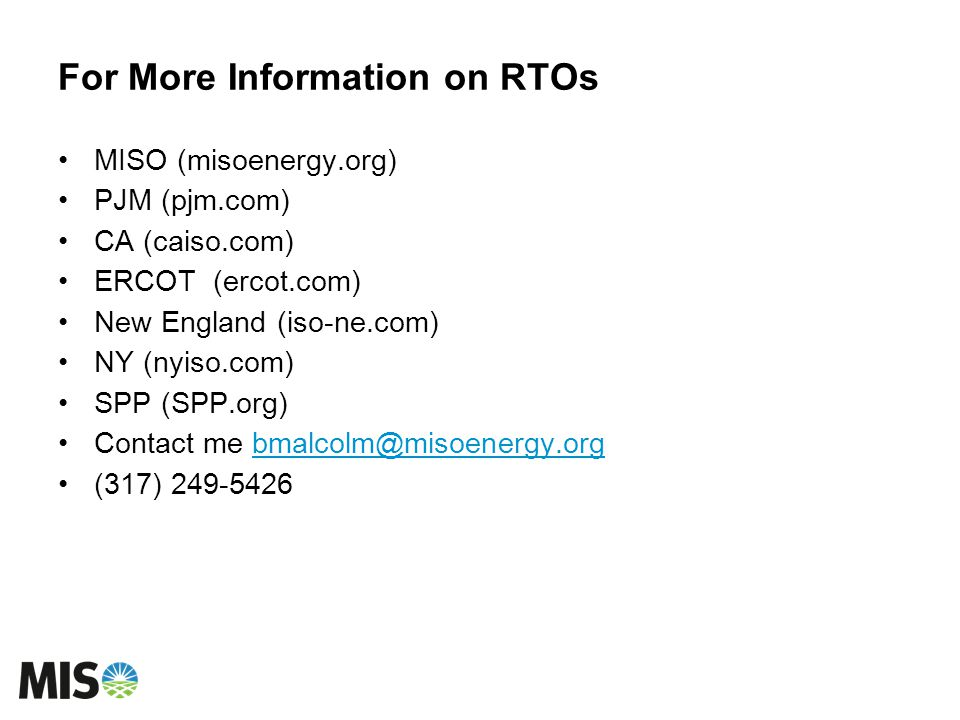 For More Information on RTOs