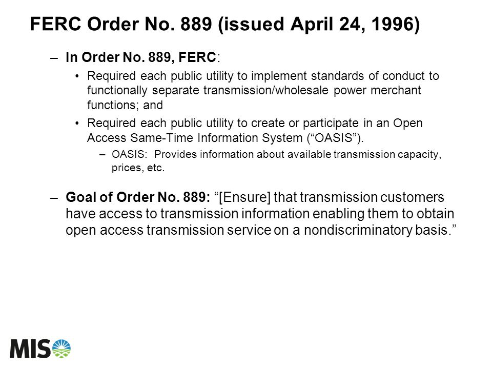 FERC Order No. 889 (issued April 24, 1996)
