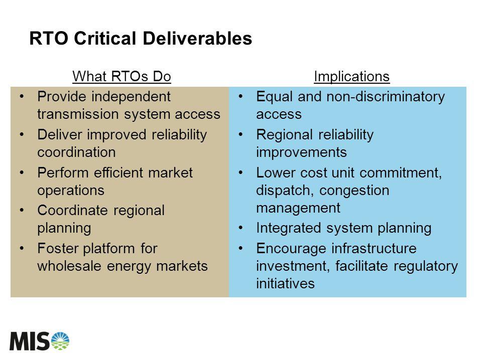 RTO Critical Deliverables