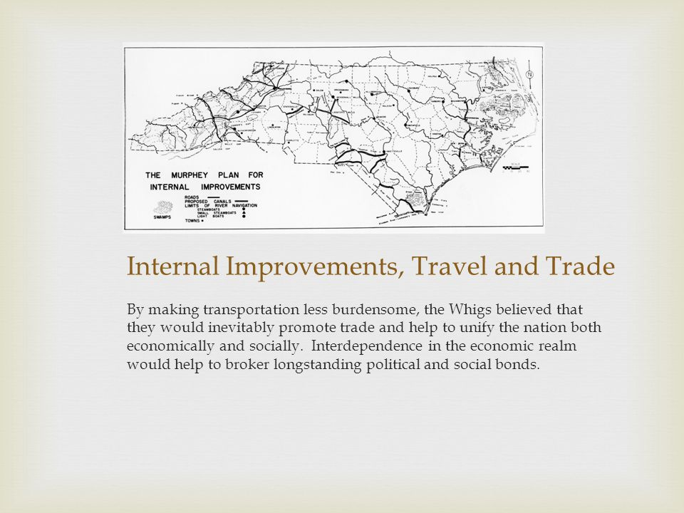 Internal Improvements, Travel and Trade