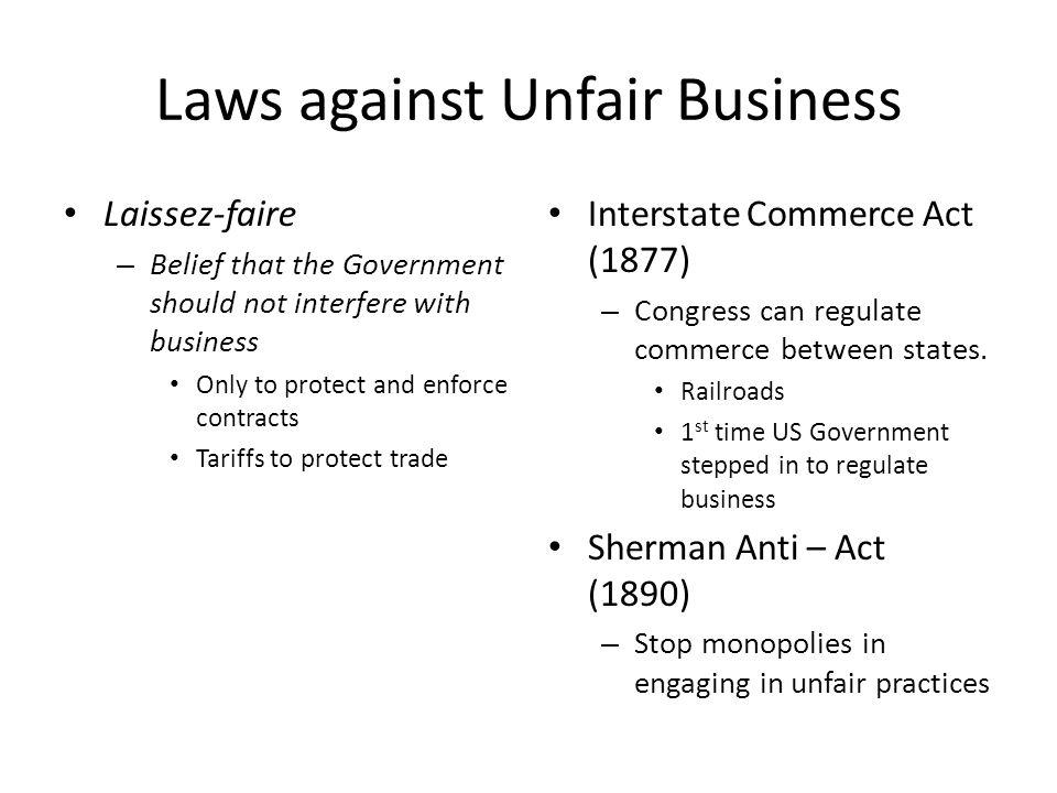 Laws against Unfair Business