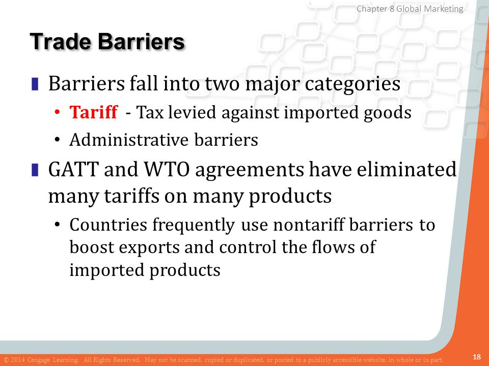 Trade Barriers Barriers fall into two major categories