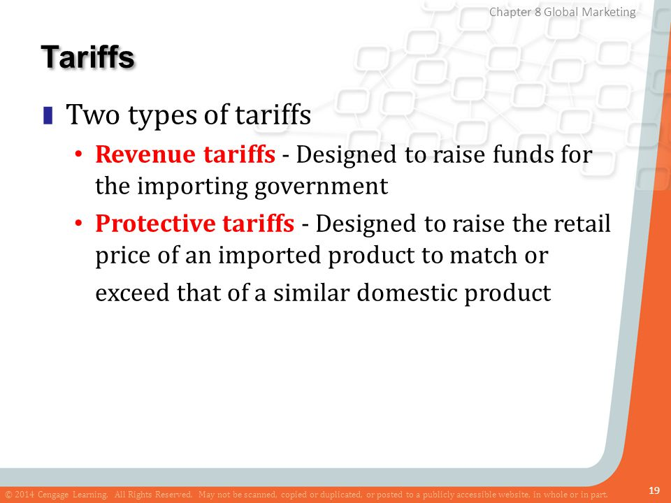 Tariffs Two types of tariffs